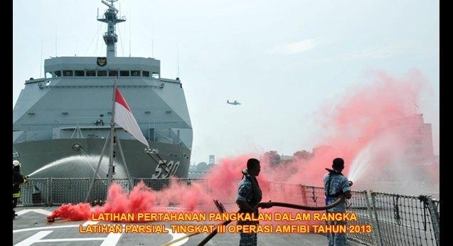 Latihan pertahanan pangkalan dalam rangka latihan parsial tingkat III operasi ampibi tahun 2013.