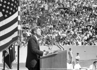 President John F. Kennedy at Rice University Stadium, Houston, Texas, 12 September 1962