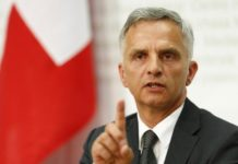 Swiss President and Foreign Minister Burkhalter speaks to the media during a news conference after the weekly meeting of the Federal Council in Bern