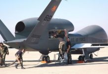 Drone Global Hawk di Pangkalan Udara Edward, California. Sumber: Wikipedia