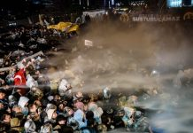 Turkish anti riot police officers launch