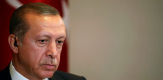 Turkish President Tayyip Erdogan prepares for an interview in New York